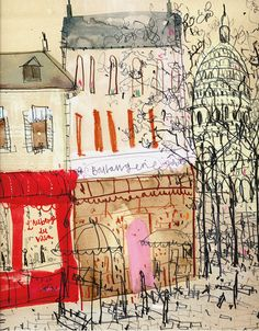 Artist Clare Caulfield is inspired by her travels around the globe and creates lively paintings of iconic cities in a variety of media including watercolour, acrylic and ink. You can and hear the stories behind the prints at our market Paris Kunst, Paris Art, Kunst Inspo, Art Inspo, Art And Illustration, Illustrations, Pen And Watercolor, Watercolour Painting, Sketchbook Inspiration