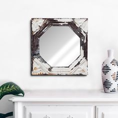 Octagonal hanging decor mirror with pressed steel frame. The antique pressed steel frame with it's beautiful patina lends texture and authenticity to any room. Steel Frame, Authenticity, Upcycle, Porcelain, Texture, Mirror, Antiques, Wood, Beautiful