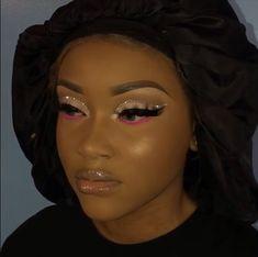 Makeup For Black Skin, Black Girl Makeup, Pink Makeup, Girls Makeup, Hair Makeup, Silver Makeup, Green Makeup, Dope Makeup, Glam Makeup Look