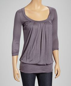 Look at this Casa Lee Charcoal Scoop Neck Top on #zulily today!