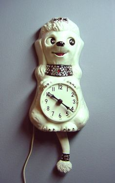 Vintage Kit Cat Clock White Poodle Jeweled Runs Great Eyes Tail Move | eBay