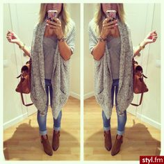Fall Outfit - Long knit cardigan