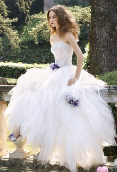 Brides: Atelier Aim�e. Romantic, floor length, strapless ball gown, with a sweetheart neckline. Hand painted flowers, and lace up back.