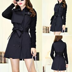 Fashion Knitting Long Sleeve Spliced Double-breasted Trench Coat