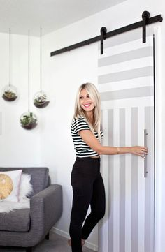 Sliding door for a tiny bathroom saves space from a swinging door! Bright and airy bedroom (before + after)