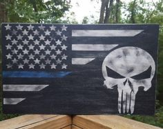 Blue Lives Matters Punisher Skull Flag on Upcycled by FunkNThrash