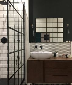 Sink unit - simple and practical but unsure how the wood would cope with water abuse (children). Taps mounted in the wall? Bathroom Styling, Small Bathroom, Loft Bathroom, Cottage Style Bathrooms, Industrial Style Bathroom, Tile Bathroom, Rustic Bathrooms, Bathroom Interior Design, Dark Wood Bathroom