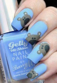Bear nail ideas, for more amazing nail art inspirations, check out nailsinspiration.com