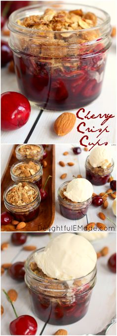 A dessert classic everyone loves!  Fresh cherries are topped with a delicious almond crisp and baked in jars for the perfect single-serving dessert.  Served fresh out of the oven with scoop of ice cream, these are incredible!