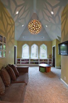 Eclectic Home Design Ideas, Pictures, Remodel and Decor Living Room Decor, Living Spaces, Living Area, Dining Room, Custom Builders, Playroom Design, Attic Playroom, Garage Attic, Bonus Rooms