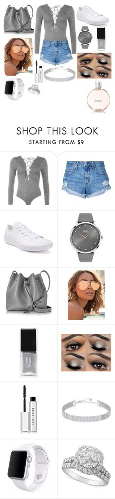 """Formal gray🐰"" by brielleespinal ❤ liked on Polyvore featuring WearAll, Nobody Denim, Converse, BOSS Black, Lancaster, Quay, JINsoon, Bobbi Brown Cosmetics, Swarovski and Apple"