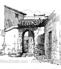 Pin and Ink sketching Landscape Sketch, Landscape Drawings, Architecture Drawings, Building Drawing, Art Sketches, Sketch Ink, Ink Pen Drawings, Perspective Drawing, Urban Sketchers