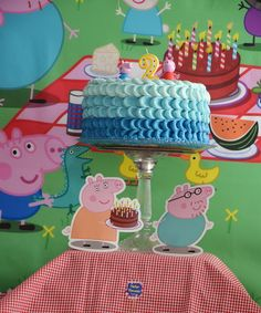 Cute  cake at a Peppa Pig birthday party!  See more party ideas at CatchMyParty.com!