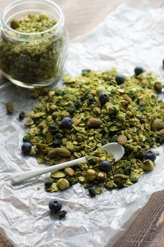 Matcha granola with dried blueberries. All of the goodness of matcha powder tossed with a delish granola. Perfect snack or breakfast--tons o...
