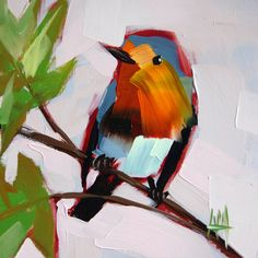 Robin no. 56 original bird oil painting by Moulton 6 x 6 inches on panel prattcreekart