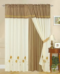 Fashion Street Sterling Rose 2-Piece Standard Curtain Set, Gold by Fashion Street. $32.88. 100-Percent polyester. 2-Piece of curtains. Embroidery floral pattern. Dry clean recommanded. 100% Polyester. Valances: 18-inch by 54-inch; drapes 42-inch by 84-inch. What a steal. This affordable yet stylish curtain set offers you fashion and comfort without breaking the bank. The detailed applique and embroidery works on the valances add value without raising the price.