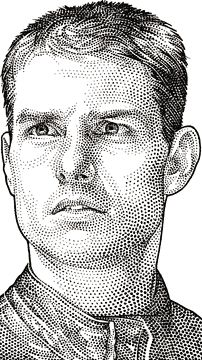 Wall Street Journal portrait (hedcut) of Tom Cruise