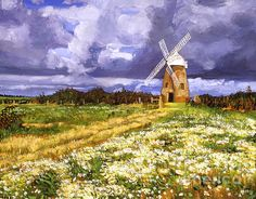 A Windmill in the English countryside.  Acrylic on canvas painting