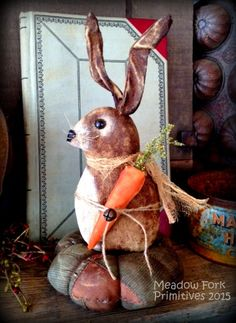 Primitive Folk Art Bunny Pinkeep Blue & Pink Patchwork Quilt -Easter-Spring-Shabby, Grungy Farmhouse Rabbit, Old, Hafair Team by MeadowForkPrims on Etsy