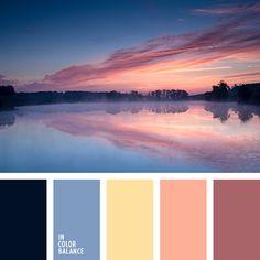 Sunset: black, dusty blue, lt yellow, lt peach, dusty rose