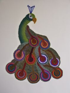 Freeform crocheted Peacock by Ann*Benoot, inspired by Zentangle Drawing of power animals. Textile art 'painting' 40x50 cm. The proceeds of the sale of my artwork goes to charity.