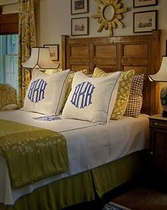 Soft Muted Bedroom...with monogrammed bed pillows.