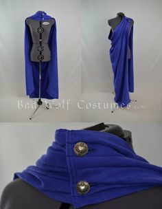 Versatile Fantasy Cape in Royal Blue by Manwariel on DeviantArt; just an idea, maybe some inspiration for you? Corset Costumes, Cosplay Costumes, Cloak Pattern, Cape Designs, Royal Clothing, Medieval Costume, Period Outfit, Fairy Dress, Fantasy Costumes
