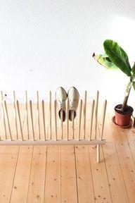 Shoe Shelf : goldschmidtboeing not diy, but a great space-saver for my shoe-obsessed family! Diy Furniture, Furniture Design, Furniture Storage, Diy Home, Home Decor, Diy Casa, Declutter Your Life, Rack Design, Design Design