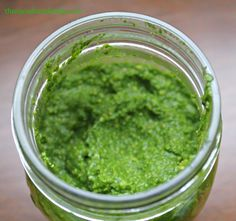 Kale and Spinach Pesto - 8 oz kale & spinach leaves ⅓ cup soy nuts lightly salted 2 tablespoons lemon juice 2 cloves garlic 4 tablespoons extra virgin olive oil ⅓ cup Parmesan Cheese salt & pepper to taste
