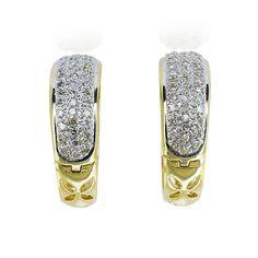 Diamant-Gold-Creolen mit  0,76ct Diamanten in Paveefassung #secondhand und #vintage #ringe #ohrringee und #schmuck auf der #schmuckboerse https://www.schmuck-boerse.com/index-gold-ringe-3.htm