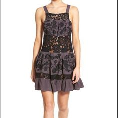 NWT For Love and Lemons grey lace dress sz large Gorgeous slate grey dress with black lace cutouts and wide straps! never been worn, has no flaws For Love and Lemons Dresses