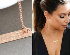 14k Gold Bar Necklace, gold Bar Necklace Personalize, Initial Bar Necklace, Horizontal Bar, Engraved, Customized by malizbijoux. Explore more products on http://malizbijoux.etsy.com