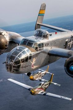 Beautiful Warbirds — B-25 Mitchell with two P-51 Mustangs.