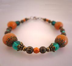 Autumn bracelet  orange aventurine orange blue Czech door deBATjes