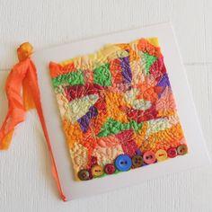 """Art Card, unique stitched textile, original textile art, """"Circus Garden"""""""