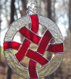 Stained Glass Celtic Knot Suncatcher  Red