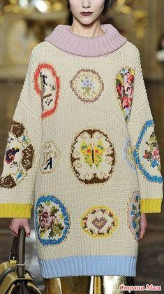 Вышивка очень часто используется в вязании. Можно обновить какой-то пуловер однотонный или вообще изменить вещь, будет как новая. Даже в мужской моде используется вышивка на трикотаже.