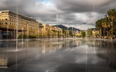 Download wallpapers Nice, Dancing fountains, square, France, mountain landscape, fountains, Cote dAzur