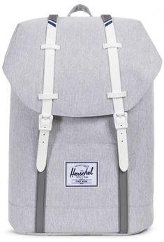 1066cdfcf22 Herschel Retreat Backpack 600D Poly Light Grey Crosshatch White  10066-01866-OS