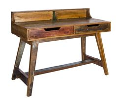 This stylish desk is perfect for a your sitting room or study. It can even be tucked away in the corner of your bedroom. Retro look reclaimed wood desk. The KRUGER desk is a brand new addition to our collection and has a fantastic presence, which will bring any study or workplace to life. Retro design but still relevant and exciting enough to lighten up any office or study area. Has two practical and spacious drawers to accomodate day to day stuff. Ideal for working on a laptop working with…