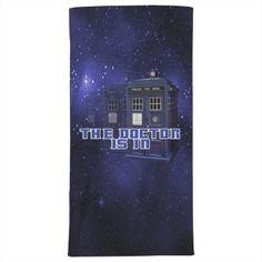 Iconic police box design on a galaxy background. Galaxy Background, Police Box, Customized Girl, Box Design, Beach Towel, Fandom