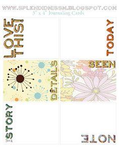 "Free Project Life 3"" x 4"" Journaling Cards via splendidmissm.blogspot.com"