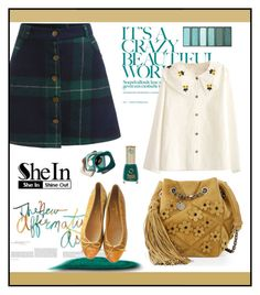 """""""SheIn Plaid Skirt"""" by ana-angela ❤ liked on Polyvore featuring Roger Vivier, WithChic, KEEP ME, Chanel and Banana Republic"""