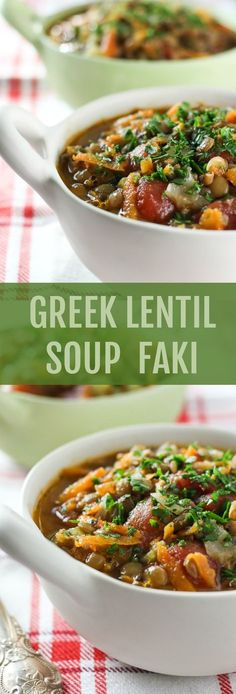 This Greek Lentil Soup Faki is full of veggies and protein. It's healthy, filling, and comforting. A budget friendly recipe that is super easy to make.