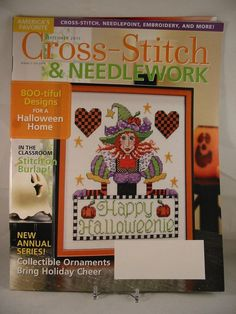 Cross Stitch & Needlework Magazine September 2011 Halloween Plus Ornaments New