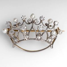 Antique Crown Brooch Pin w/ Diamonds & Pearls Solid Platinum & 18K Gold 1930's