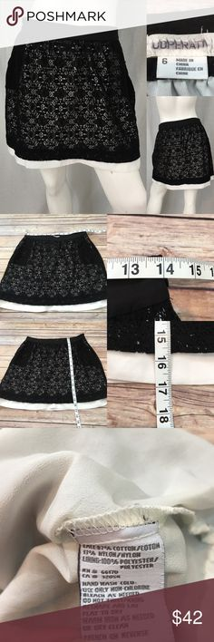 Size 6 UO Cooperative Black Lace Lined Mini Skirt • Measurements are in photos  • Material tag is in photos • Normal wash wear, no flaws • has lace see through pockets  • Mini  • white Lining  E2/65  Thank you for shopping my closet! Urban Outfitters Skirts Mini