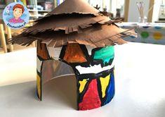 Hut knutselen van Ndbele stam uit Afrika,kleuteridee, thema Afrika, kindergarten Africa theme.