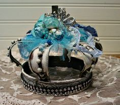 Zinc Altered Crown - Tiffany Blues - Rhinestones - Santos Style - Altered Art Home Decor by EdenCoveTreasures on Etsy