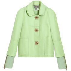 Flower Jacket Mint Cotton twill ($2,600) ❤ liked on Polyvore